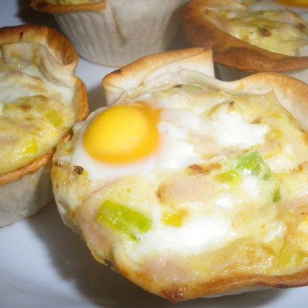 Tartaletas de puerro y huevo