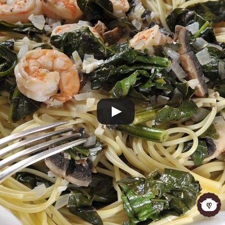 Spaghetti con camarones y portobello
