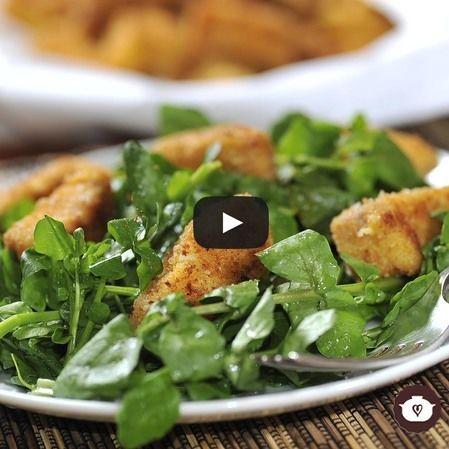 Filetes de pescado con ensalada de berros