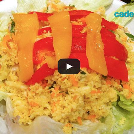 Ensalada de couscous con mango y pollo