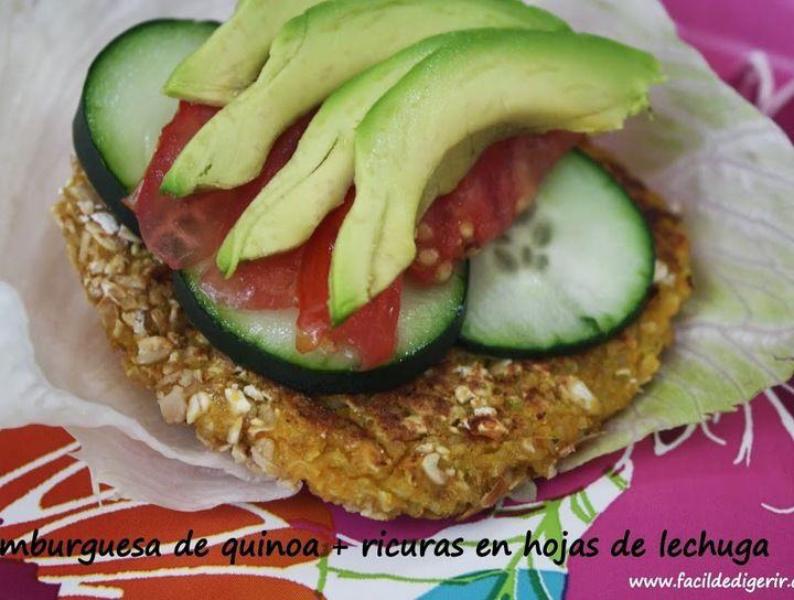 Hamburguesa de quinoa en hojas de lechuga