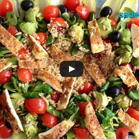 Ensalada de quinoa con espárragos y vinagreta
