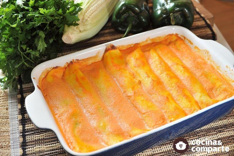 Recetas De Cocina Con Champiñones | Receta Crepas Rellenas De Rajas Con Elote Y Champinones Cyc