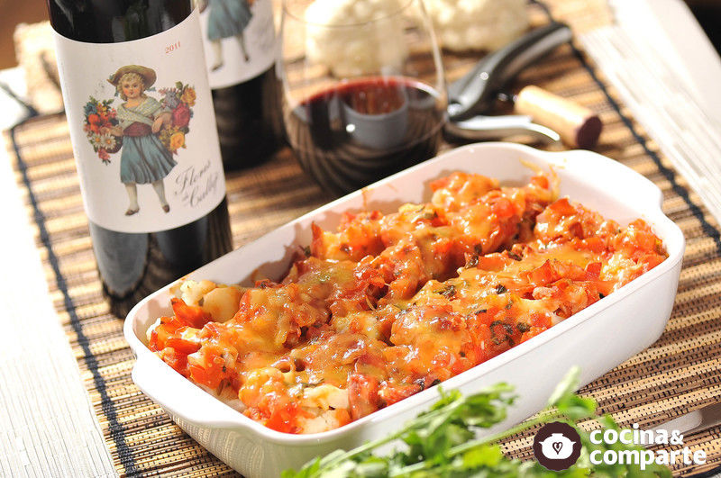 Coliflor a la napolitana con jamón serrano