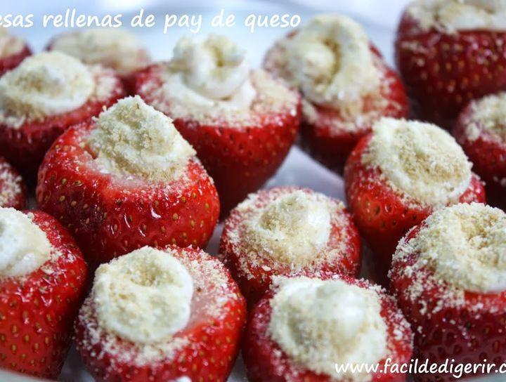 Fresas rellenas de pay de queso