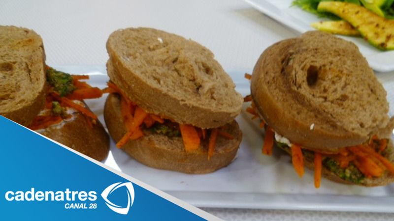 Sándwiches de zanahoria con tapenade de aceituna verde