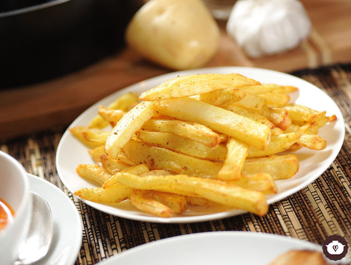 Papas fritas al curry bajas en grasa