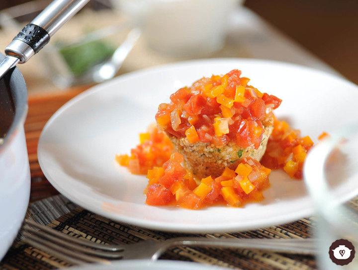 Tortitas de amaranto en salsa de jitomate