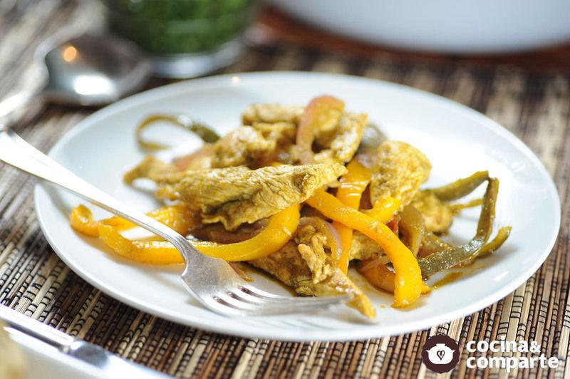 Fajitas de pollo al cilantro