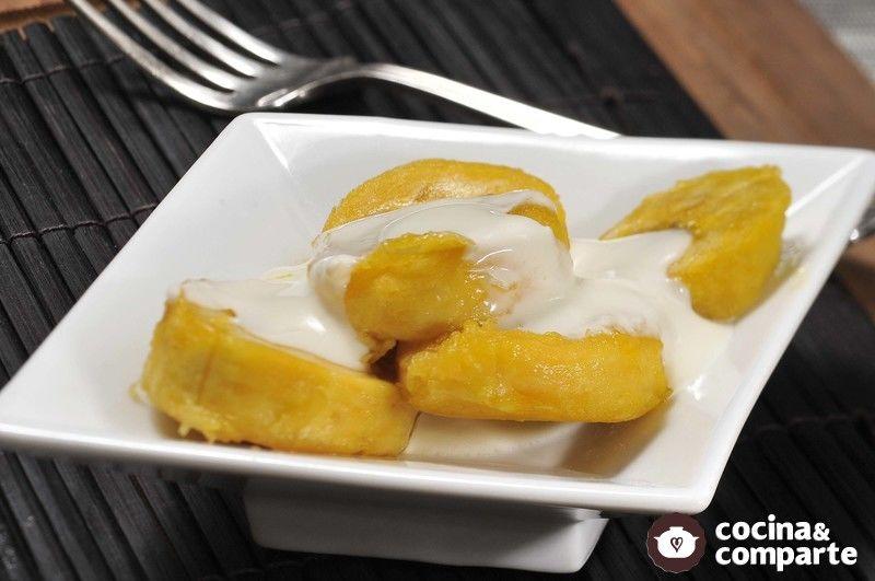 Plátano macho con mantequilla