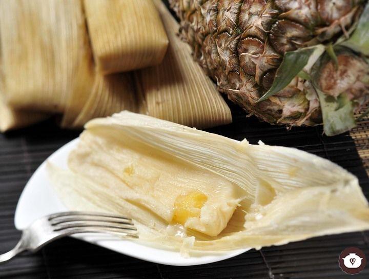 Tamales ligeros de piña con yogur