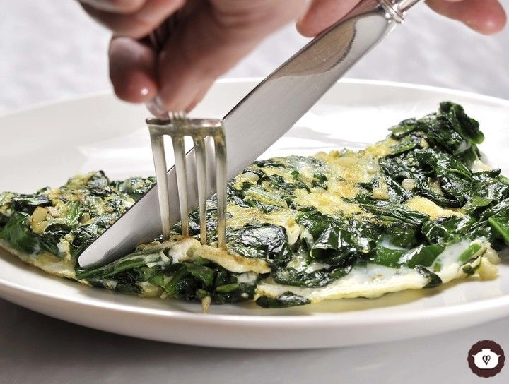 Omelette de claras con espinacas