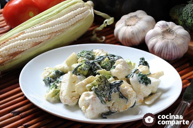 Brócoli, coliflor y espinaca a la crema