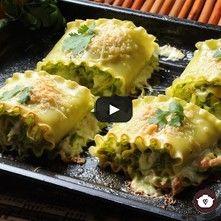 Rollitos de lasaña verde de pollo