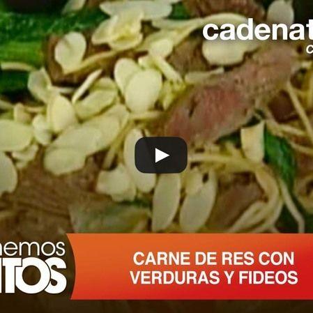 Carne de res con verduras y fideo