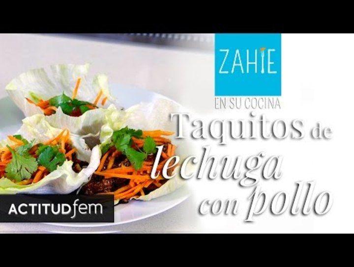 Tacos de lechuga con pollo con toque oriental