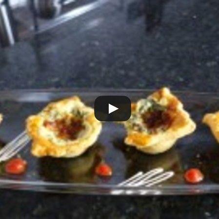 Muffins de hojaldre con espinaca y queso