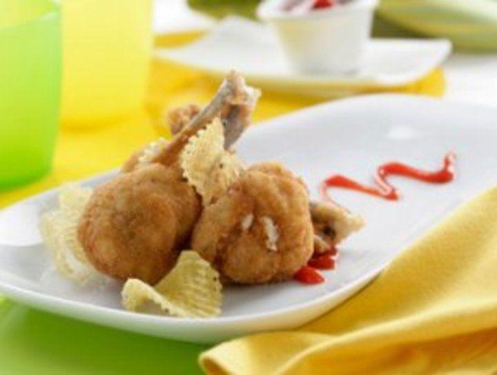 Paletas de pollo rellenas de jamón y queso