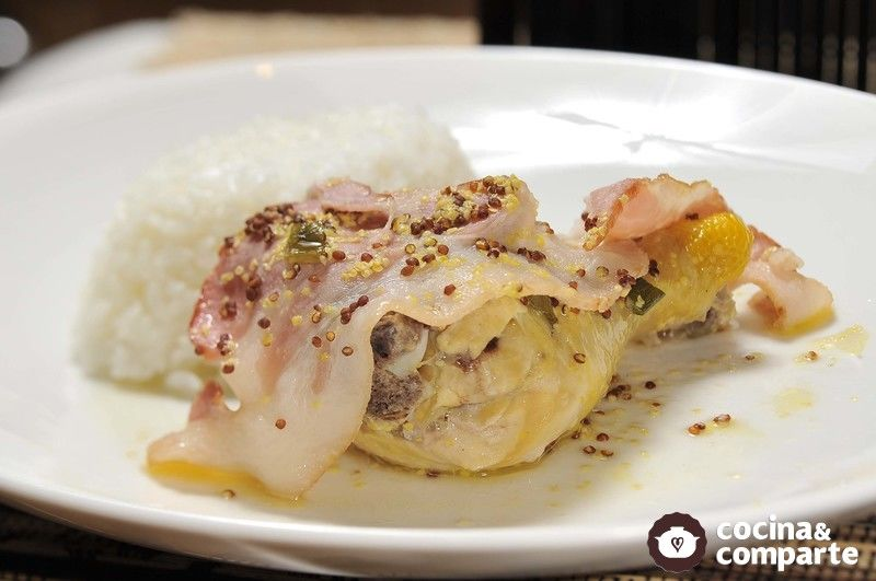 Pollo a la mostaza y vino