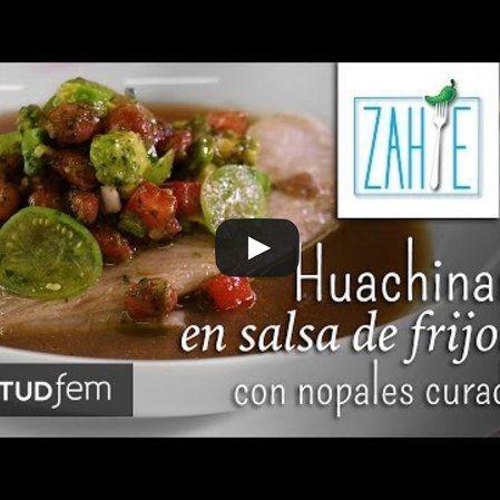 Pescado en salsa de frijol con nopalitos curados