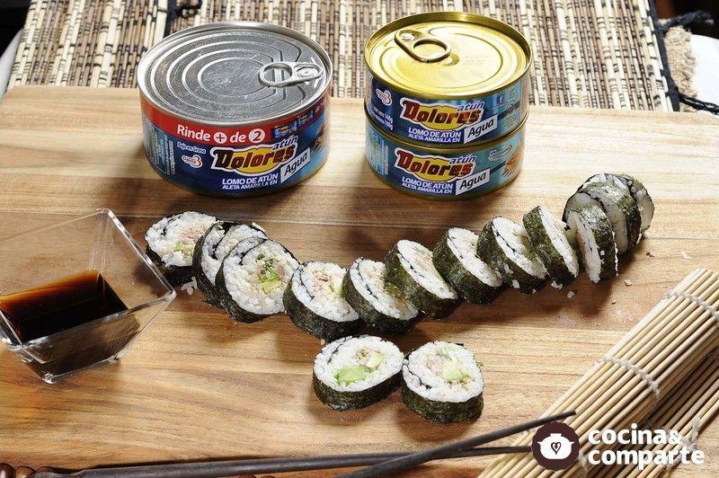 Sushi de atún Dolores con aguacate