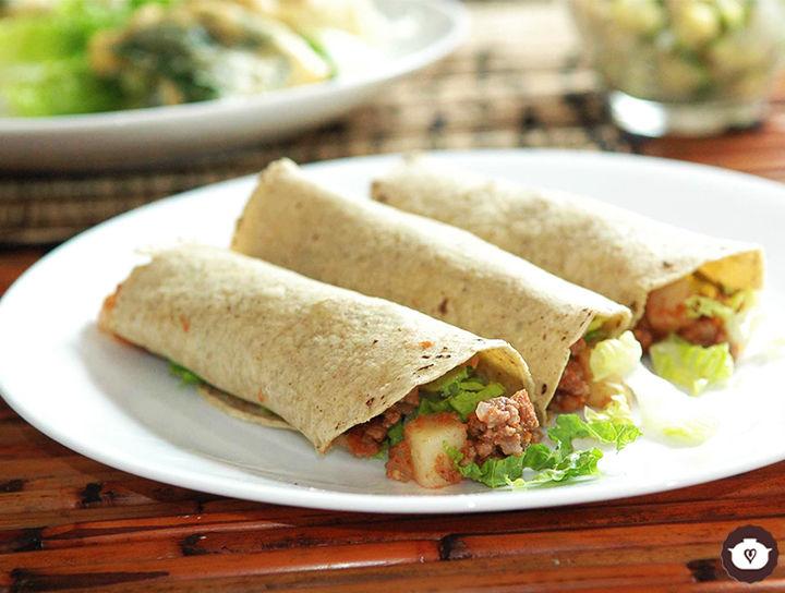Tacos de carne con papas