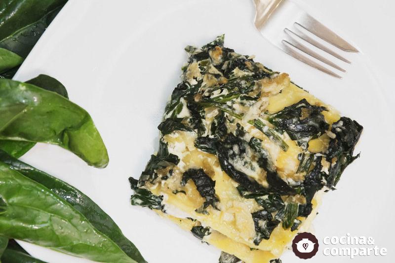 Lasagna con espinaca y queso
