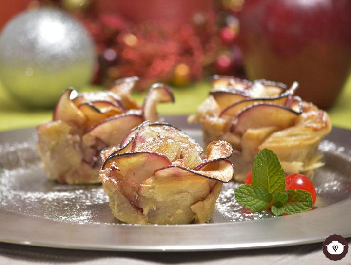 Flores navideñas de manzana