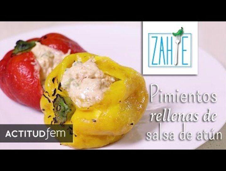 Pimientos rellenos de salsa de atún con verduras