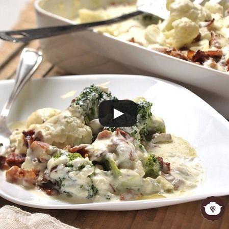 Coliflor y brócoli al gorgonzola y mascarpone