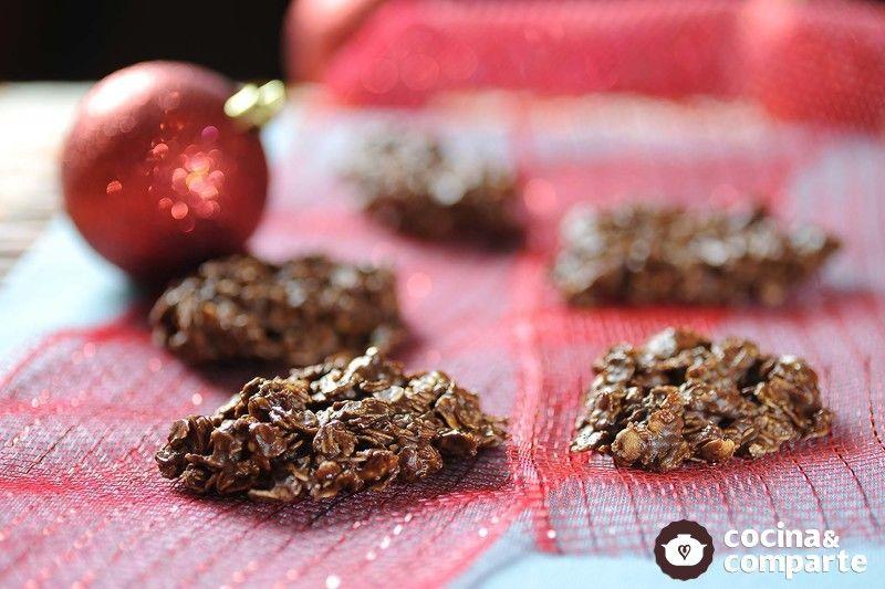 Galletas de chocolate, avena y cacahuate sin horno