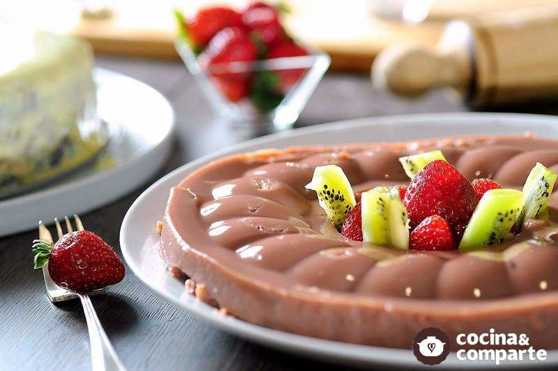 Gelatina de atole de chocolate