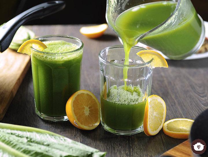 Agua de lechuga con naranja y limón