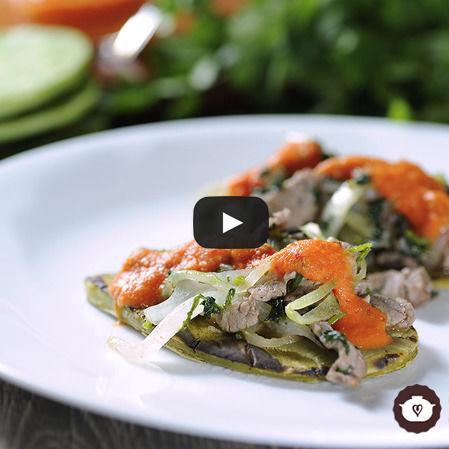 Tacos de nopales con bistec
