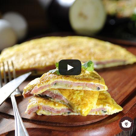Tortilla de berenjena y jamón