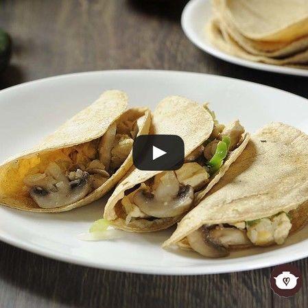 Tacos de pollo con champiñones