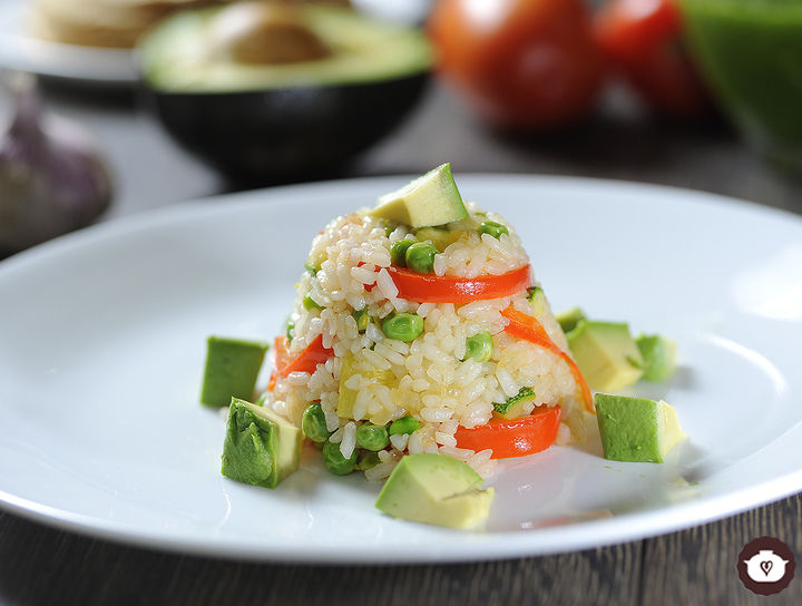 Timbal de arroz con verduras