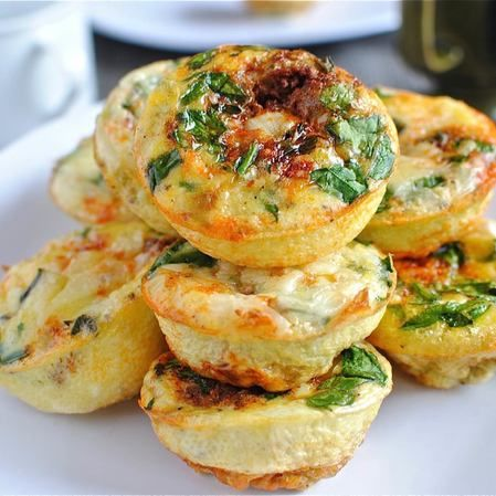 Frittata individual de jamón, queso y verduras