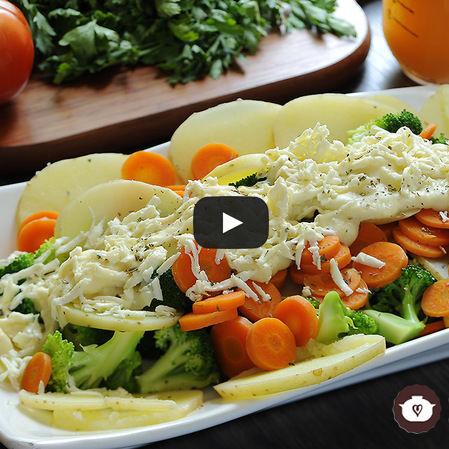 Verduras con salsa blanca