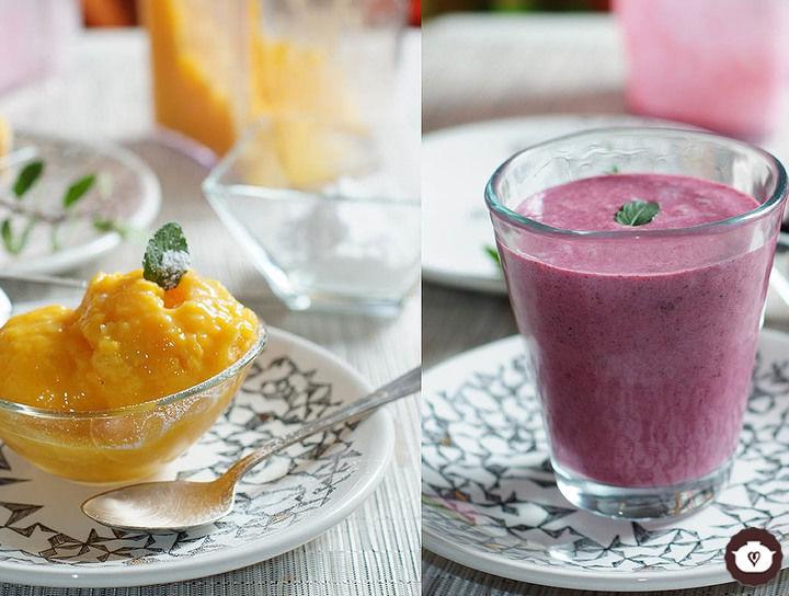 Helado de mango y smoothie de frutos rojos