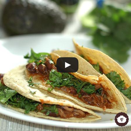 Tacos de carne con frijoles