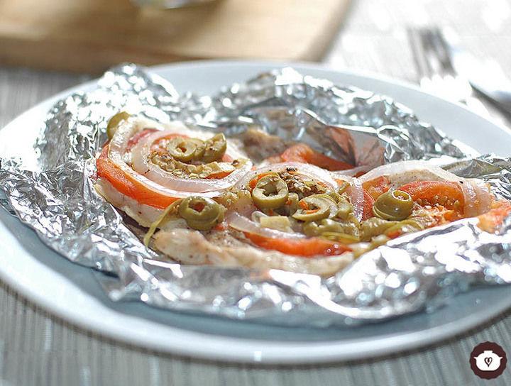 Filete de pescado empapelado a la veracruzana