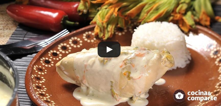 Pollo en crema de flor de calabaza