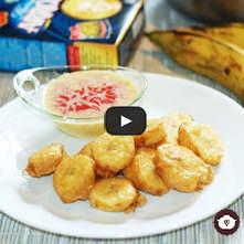 Plátanos fritos con salsa de tres leches y fresas