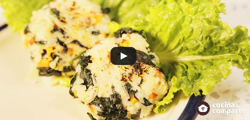 Hamburguesas de arroz con verduras