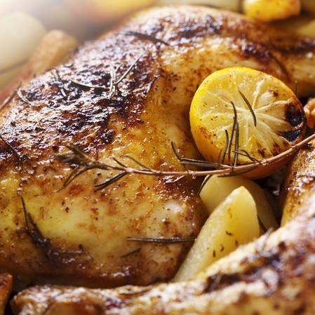 Pollo rostizado con soya, vinagre balsámico y romero
