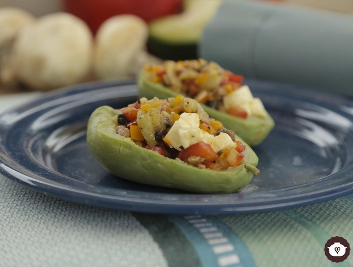 Chayotes rellenos de verduras