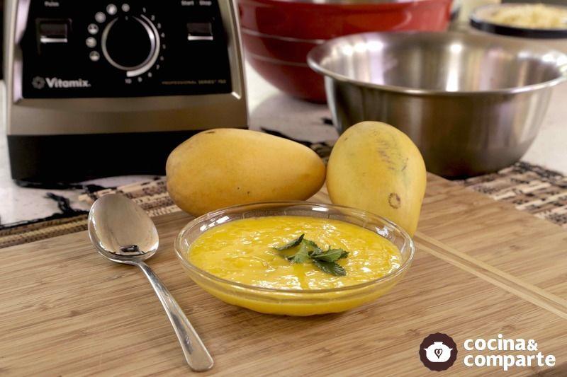 Postre helado de mango en Vitamix