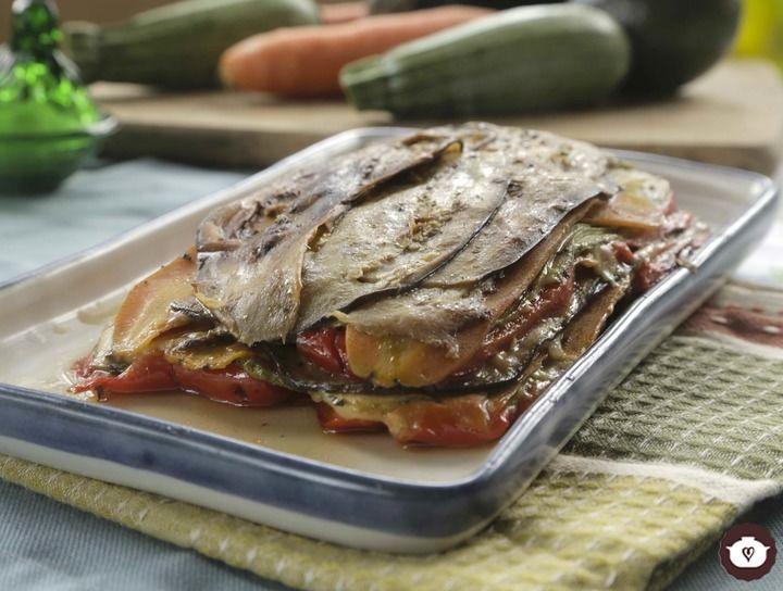 Lasaña vegetariana de pimientos con berenjena