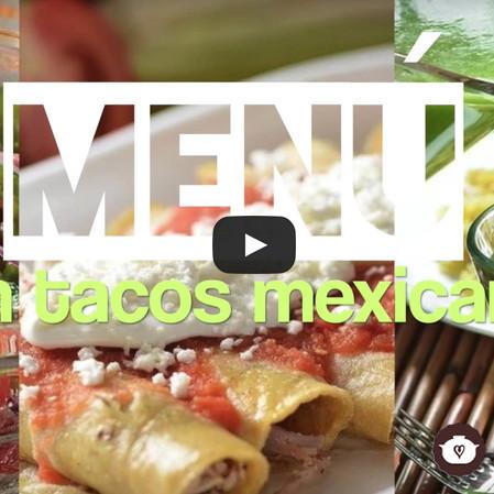 Menú con tacos mexicanos